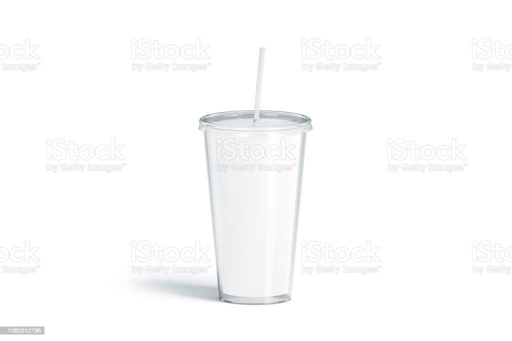 Blank White Acrylic Tumbler With Straw Mockup Isolated Stock Photo
