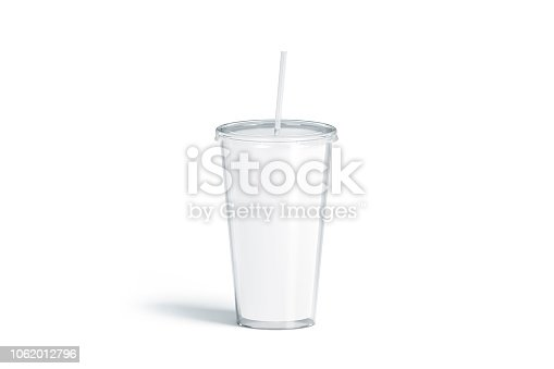 Blank white acrylic tumbler with straw mockup, isolated, 3d rendering. Empty plastic flask with pipe mock up. Clear cup for coffee or beer. Glass disposable bottle for cold drink, template.