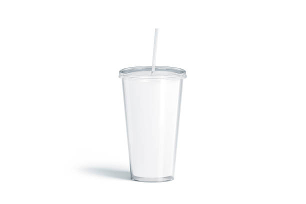 Blank white acrylic tumbler with straw mockup, isolated Blank white acrylic tumbler with straw mockup, isolated, 3d rendering. Empty plastic flask with pipe mock up. Clear cup for coffee or beer. Glass disposable bottle for cold drink, template. disposable cup stock pictures, royalty-free photos & images