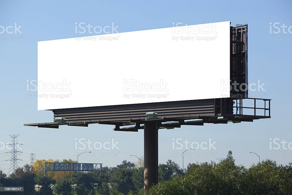 A blank white advertisement board on a motorway stock photo