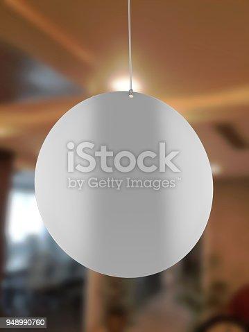 istock Blank White Advertising ceiling dangler for design presentation . 3d render illustration. 948990760