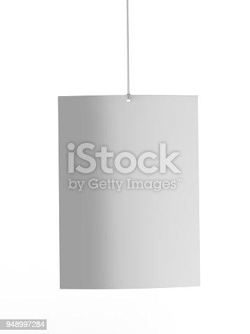 istock Blank White Advertising ceiling dangler for design presentation . 3d render illustration. 948997284