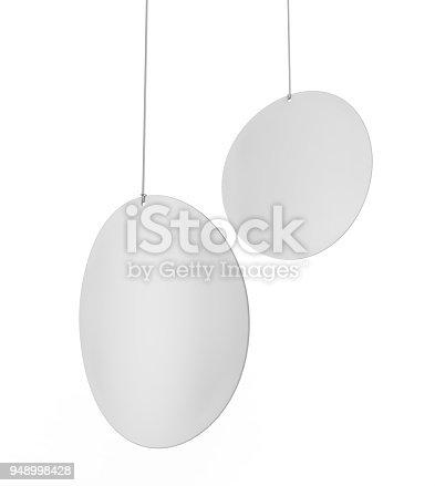 istock Blank White Advertising ceiling dangler for design presentation . 3d render illustration. 948998428