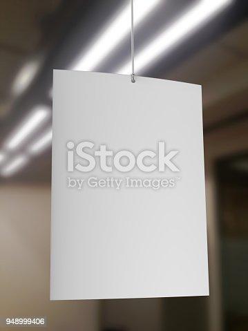istock Blank White Advertising ceiling dangler for design presentation . 3d render illustration. 948999406