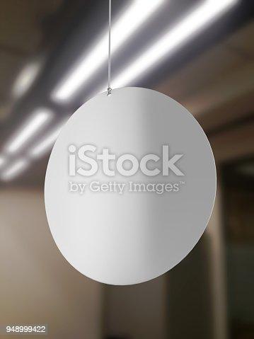 istock Blank White Advertising ceiling dangler for design presentation . 3d render illustration. 948999422