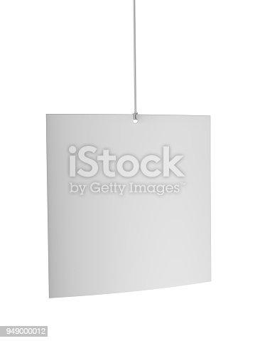 istock Blank White Advertising ceiling dangler for design presentation . 3d render illustration. 949000012