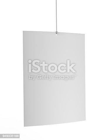 istock Blank White Advertising ceiling dangler for design presentation . 3d render illustration. 949005166