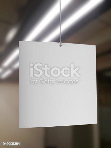 istock Blank White Advertising ceiling dangler for design presentation . 3d render illustration. 949005384