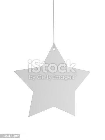 istock Blank White Advertising ceiling dangler for design presentation . 3d render illustration. 949006482