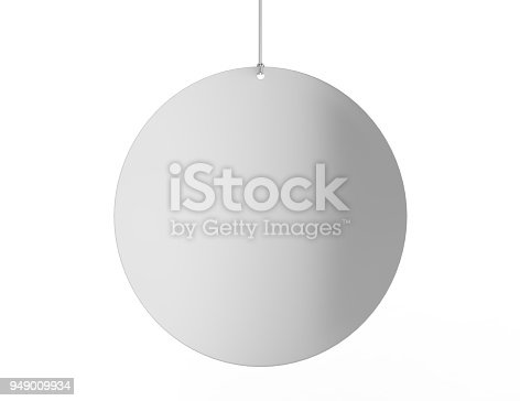 istock Blank White Advertising ceiling dangler for design presentation . 3d render illustration. 949009934