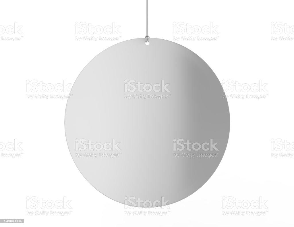 Blank White Advertising ceiling dangler for design presentation . 3d render illustration. stock photo