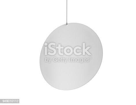 istock Blank White Advertising ceiling dangler for design presentation . 3d render illustration. 949010112