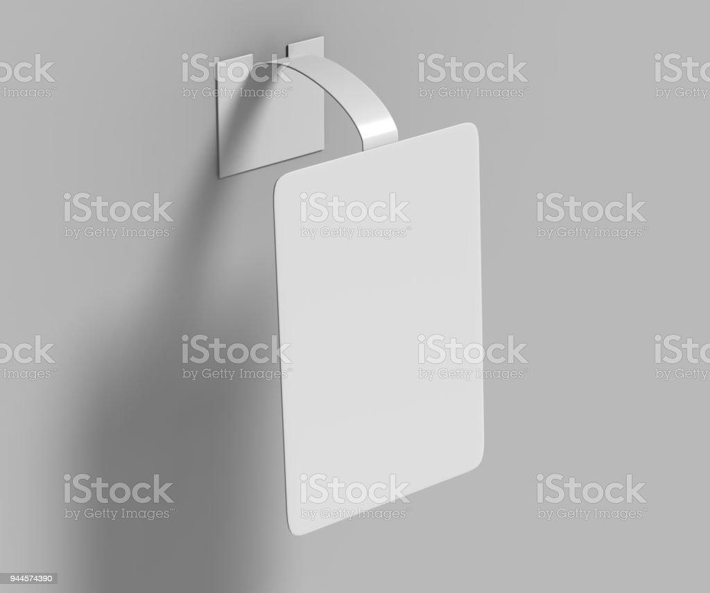 Blank White Advertising PVC shelf wobbler plastic shelf dangler for shopping centers. 3d render illustration. stock photo