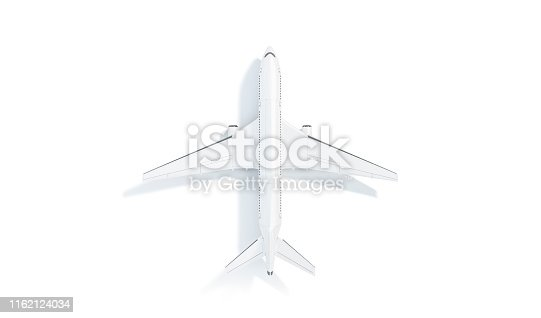 istock Blank white aeroplane mock up stand, top view isolated, 1162124034