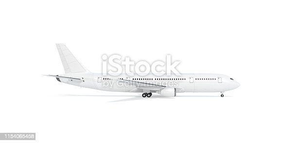 istock Blank white airplane mock up stand, profile, isolated 1154065458