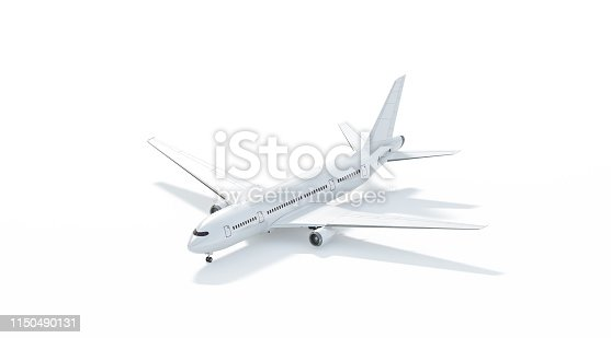 istock Blank white airplane mockup stand, side view isolated 1150490131