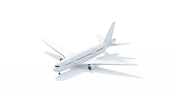 Blank white airplane mockup stand, side view isolated, 3d rendering. Clear plain air transport projected mock up template. Empty avia aerobus model for logo design branding. Clean passenger aircraft.