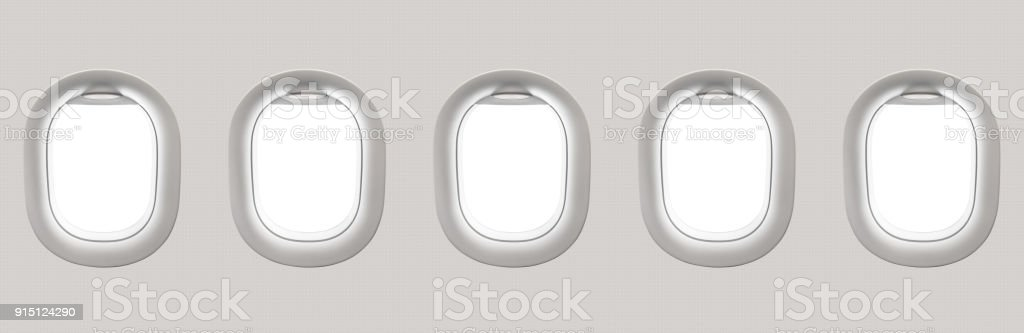 Blank white airplane windows stock photo