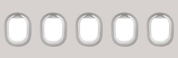 Blank white airplane windows stock photo