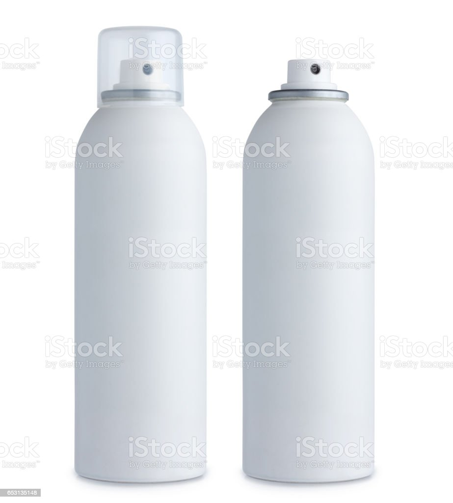 Blank white aluminum spray can - foto stock