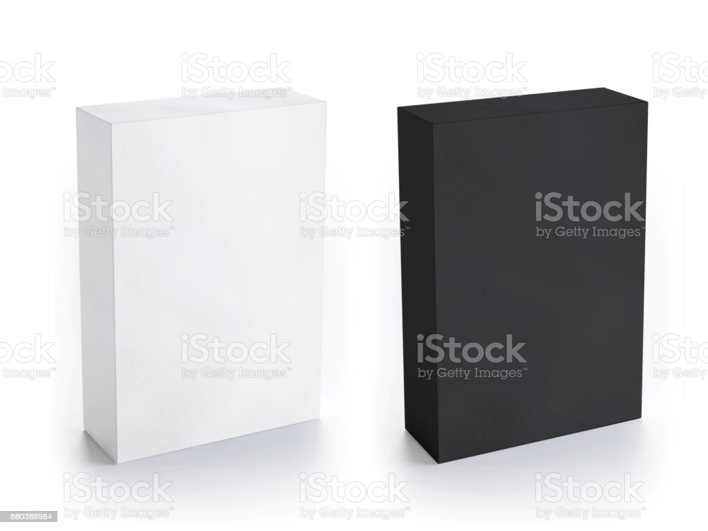 Blank white and black box mockup stock photo