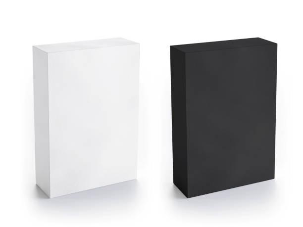 Blank white and black box mockup stock photo