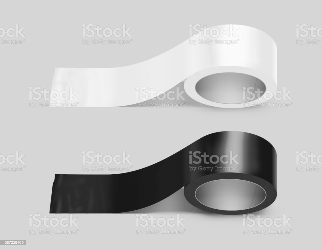 Blank white and black duct adhesive tape mockup, clipping path, – Foto