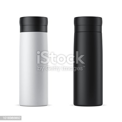 Blank white and black travel thermos Mockup isolated on white, 3d rendering