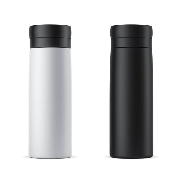 Blank white and black travel thermos Mockup isolated on white stock photo