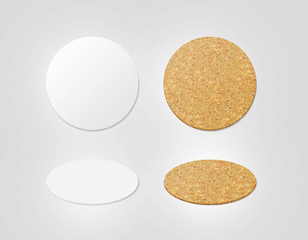 blank white and cork textured beer coasters mockup, clipping path - etiketten vorlagen stock-fotos und bilder