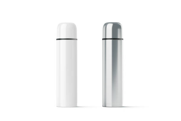 Blank white and steel closed travel thermos mockup stock photo