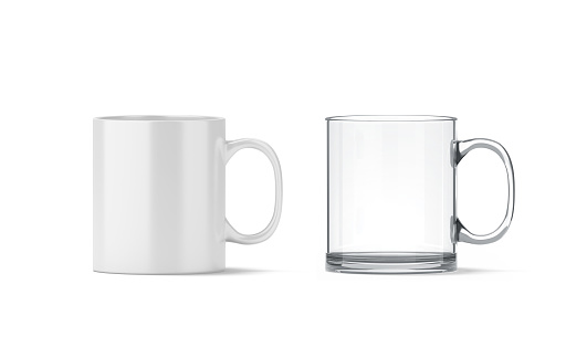 Blank white and transparent glass mug mockup isolated, 3d rendering. Clear 11 oz coffee cup mock up for sublimation printing. Empty gift pint set branding template. Glassy translucent tankard design.