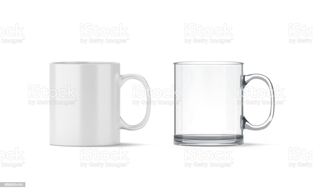 Blank white and transparent glass mug mockup isolated stock photo
