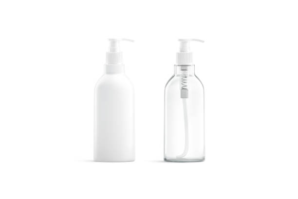 Blank white and transparent plastic pump bottle mockup, isolated stock photo