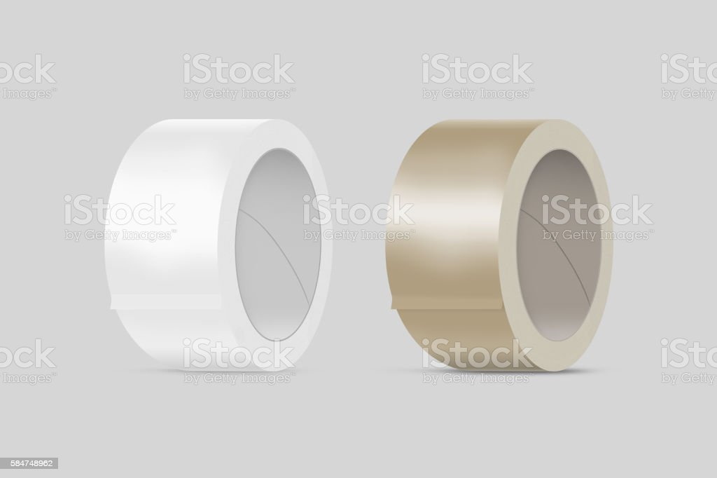 Blank white and yellow duct adhesive tape mockup, clipping path stock photo