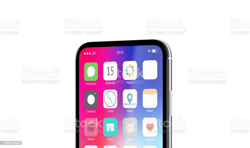 Blank White App Icon On Phone Screen Menu Interface Mockup