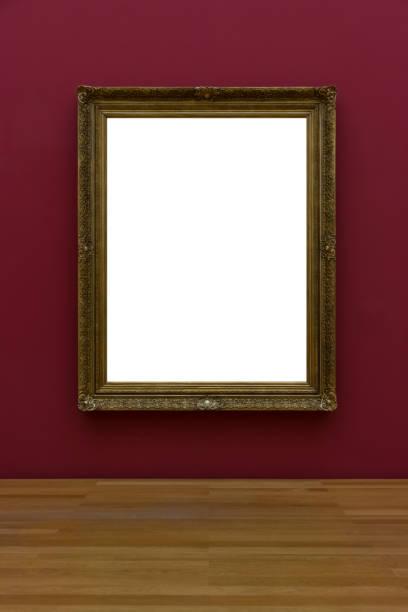 Leere weiße Kunst Galerie Rahmen Bild Wand weiß zeitgenössische moderne rechteckige Form isoliert leer – Foto