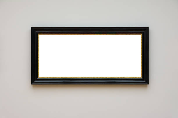 Blank White Art Gallery Frame Picture Wall White Contemporary Modern Rectangular Shape Isolated Empty Blank White Art Gallery Frame Picture Wall White Contemporary Modern Rectangular Shape Isolated Empty black border stock pictures, royalty-free photos & images