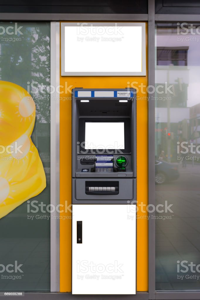 Blank White ATM Isolated City Urban Template Clipping Path stock photo