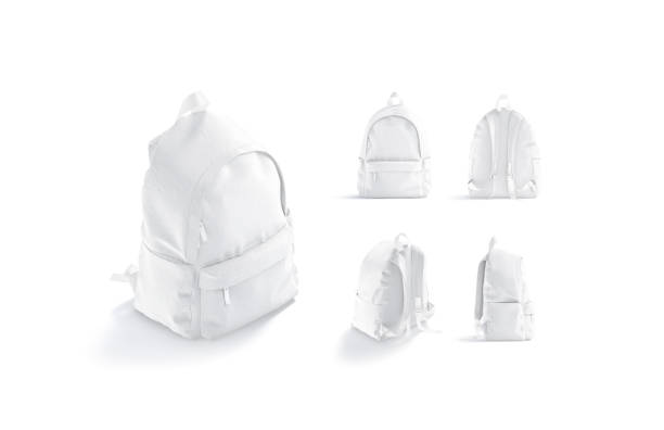 Blank white backpack with zipper and strap mockup, different views stock photo