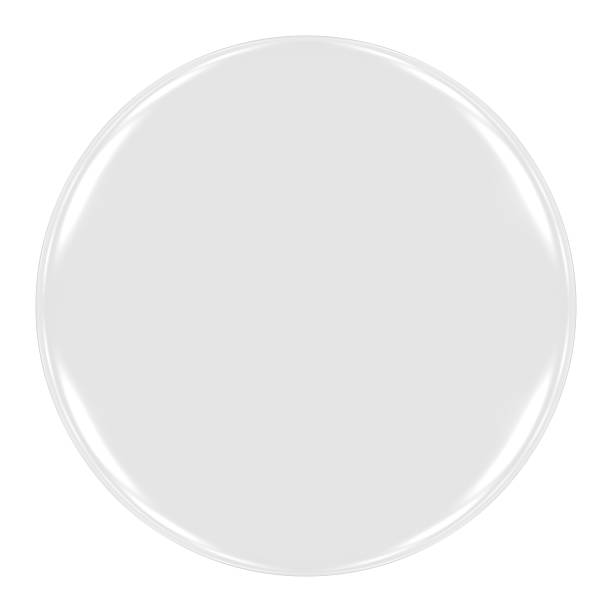 Blank White Badge Isolated on White stock photo