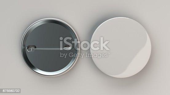 896667624 istock photo Blank white badge on white background 875580702