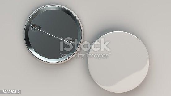 896667624 istock photo Blank white badge on white background 875580812