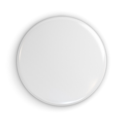 istock Blank white badge or button isolated on white background with shadow . 3D rendering 825493780
