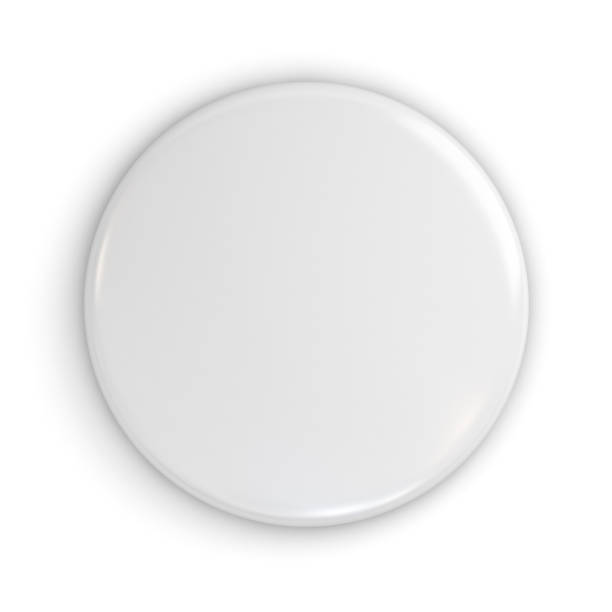 Blank white badge or button isolated on white background with shadow . 3D rendering stock photo
