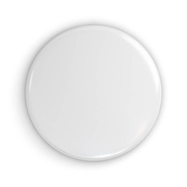 distintivo blanco en blanco o botón aislado sobre fondo blanco con sombra. render 3d - insignia símbolo fotografías e imágenes de stock