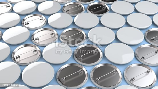 istock Blank white badges on blue background 889390088