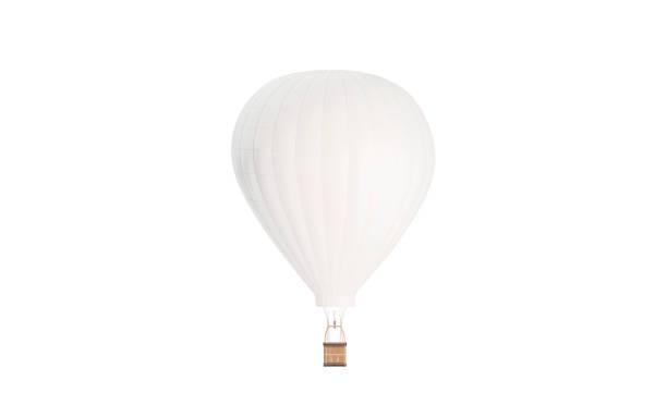 ballon blanc vierge avec maquette d'air chaud, isolé - montgolfière photos et images de collection
