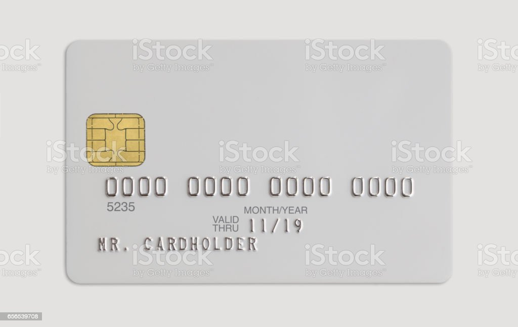 Blank white bank card isolated on white background stock photo