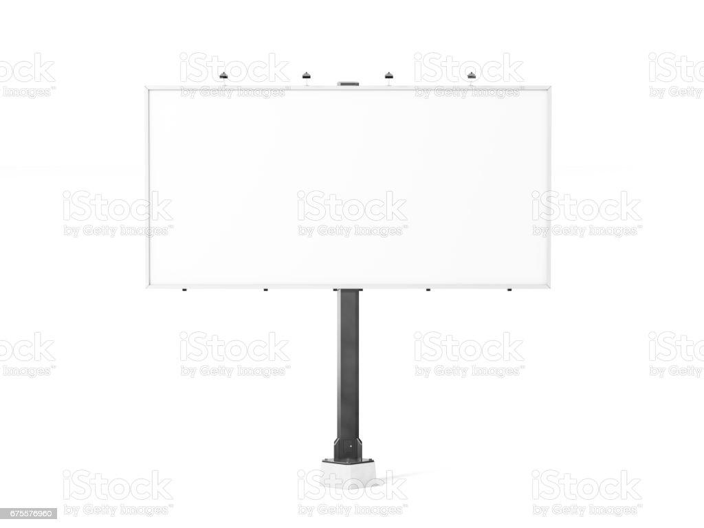 Blank white banner mock up on city billboard stock photo